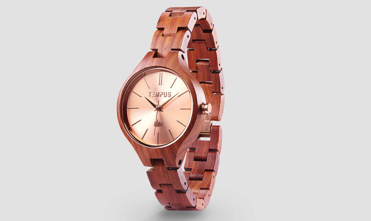 TEMPUS Elenor | Women's Rose Gold Wood Watch