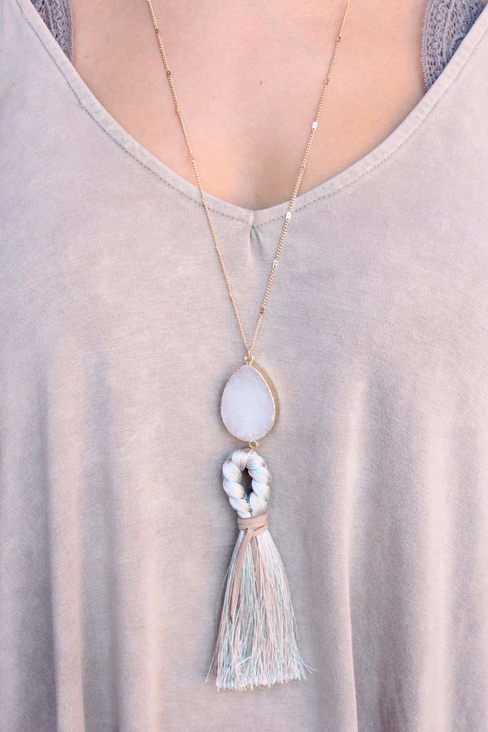 Louisa Tassel Druzy Necklace
