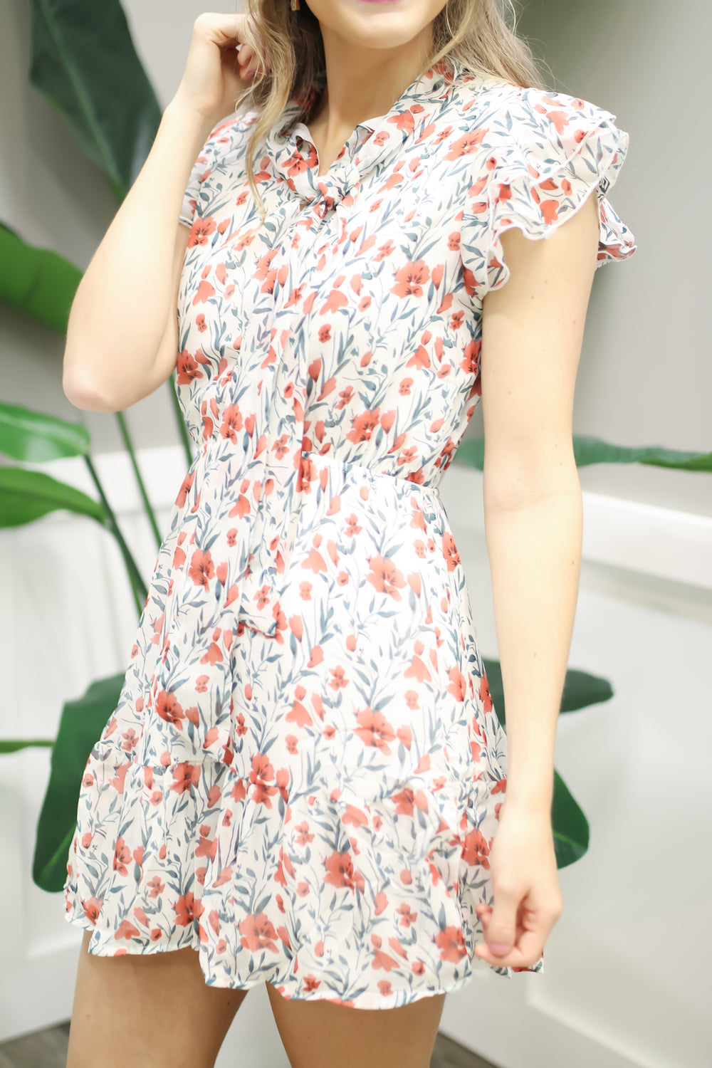 Flirty Floral Dress - Off White
