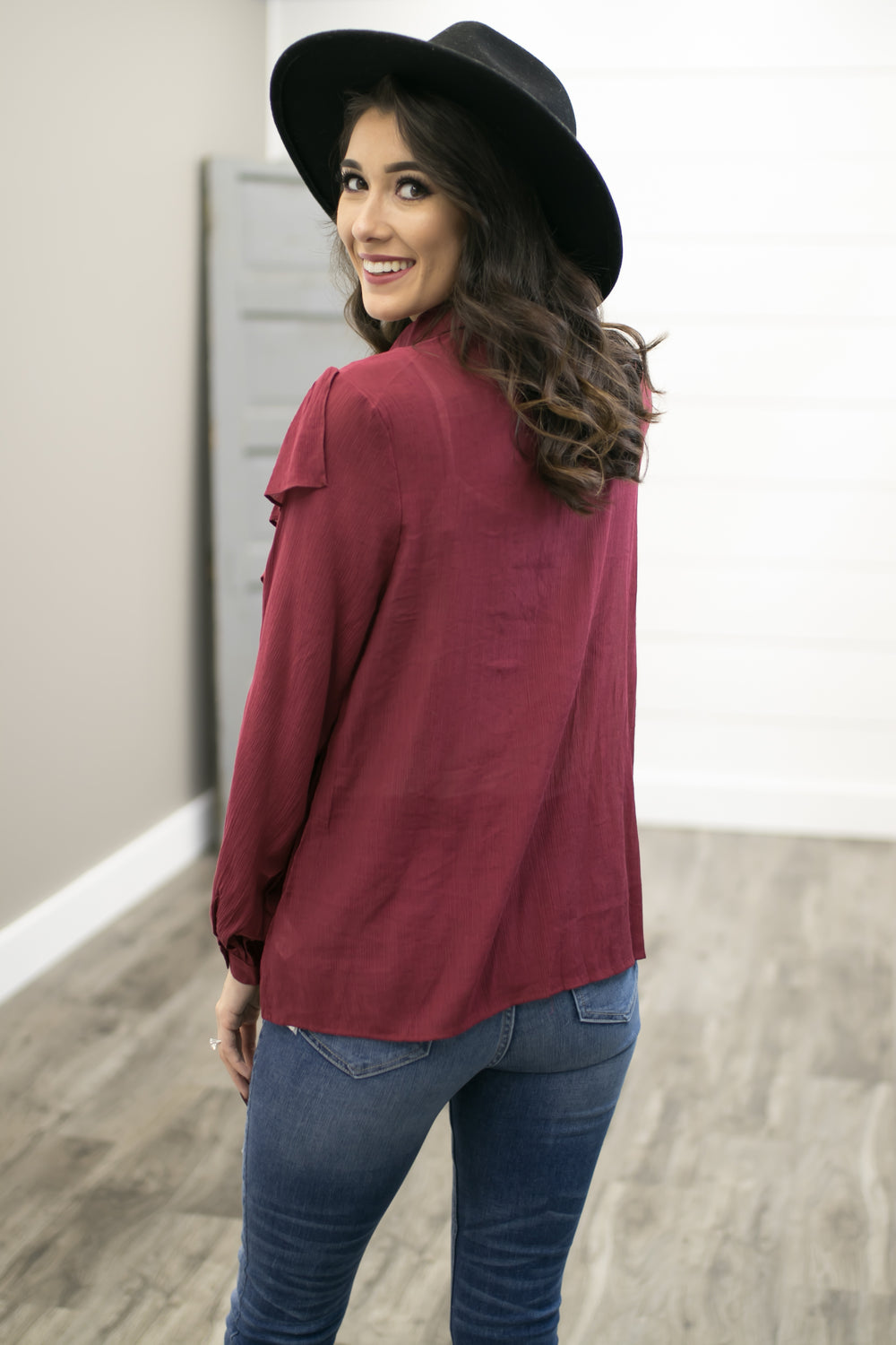 The Dixie Stampede Top - Burgundy