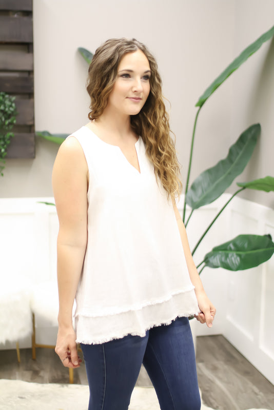 Sand Cold Shoulder French Terry Top