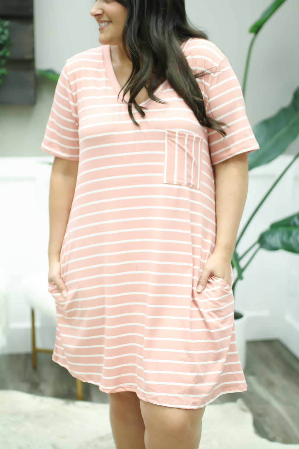 Stripe On It Swing Dress - Blush