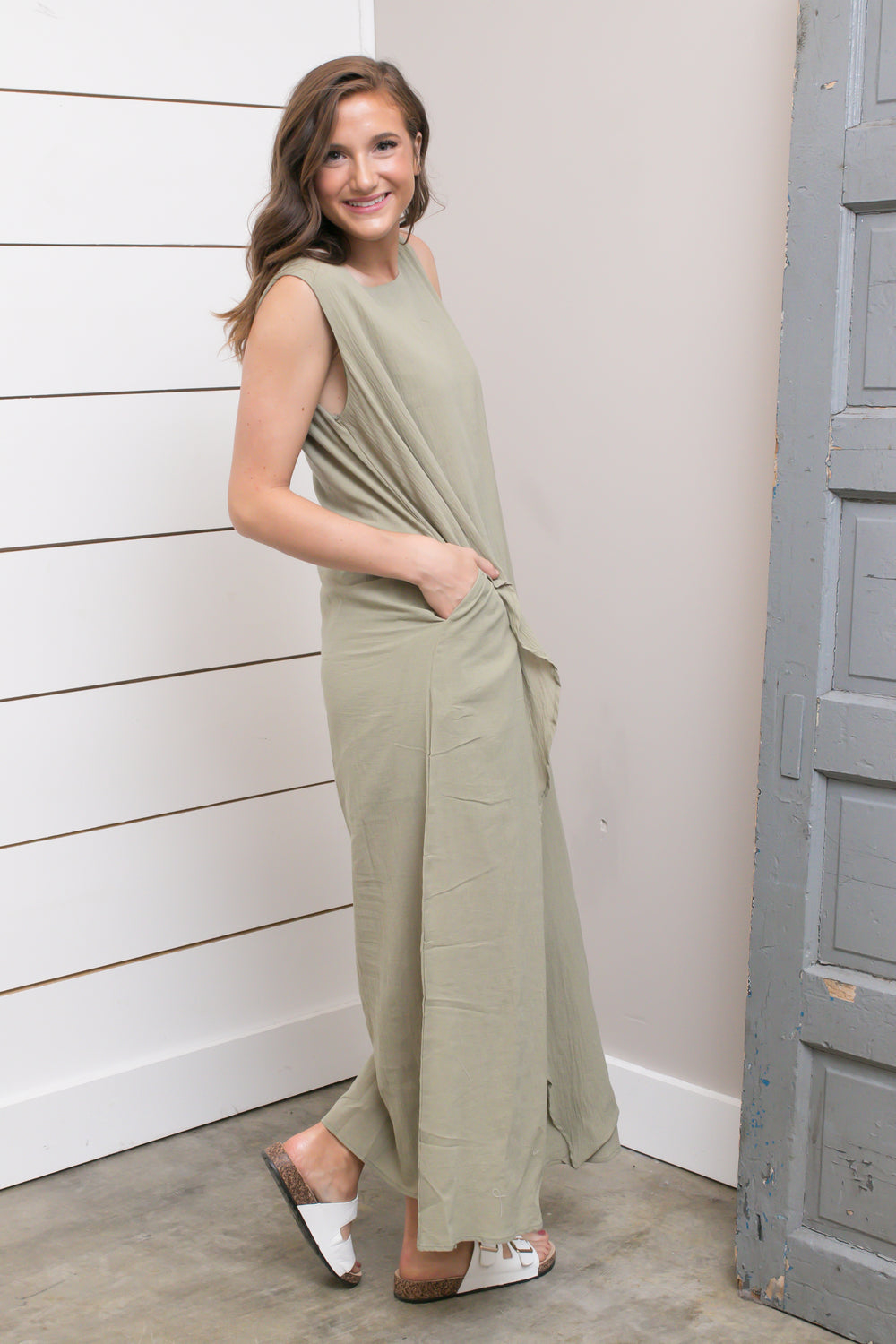 Olive Layered Maxi Dress