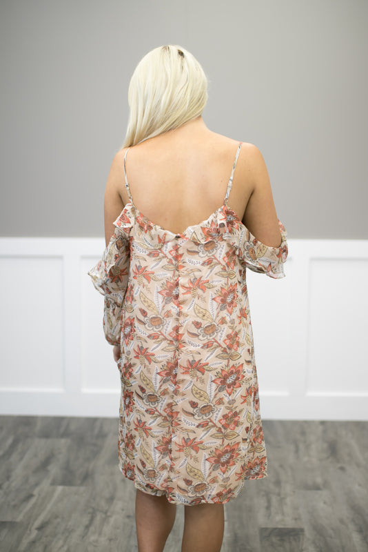 Off White Sleeveless Floral Dress W/ Lace