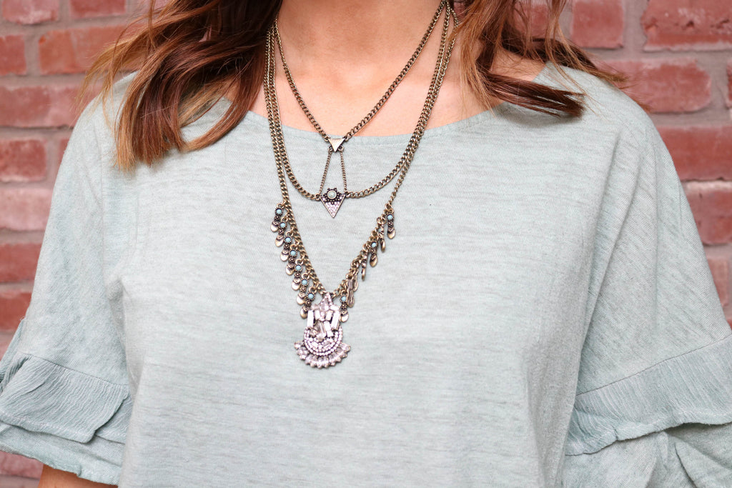 Gold/Clear Aztec Necklace