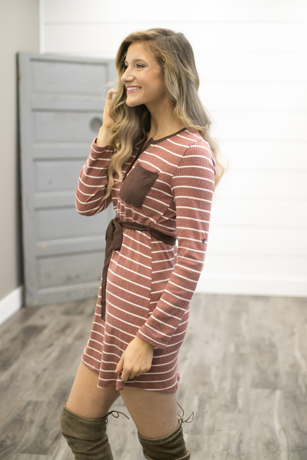 Brooklyn Bridge Striped Dress - Rust