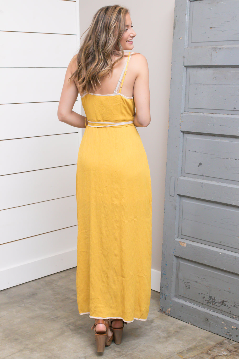 Mustard Wrapped Maxi Dress