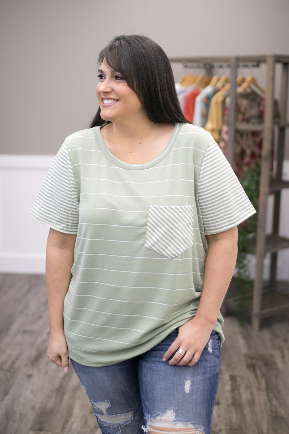 Wishing For Spring Striped Top - Sage