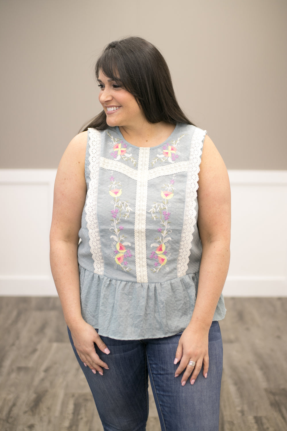 Southern Comfort Embroidered Top - Dusty Blue