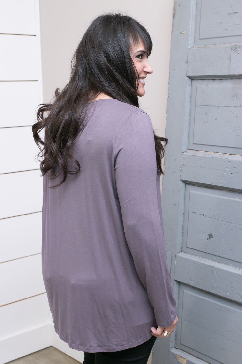 Ash Purple Basic Top W/ Neck Detail