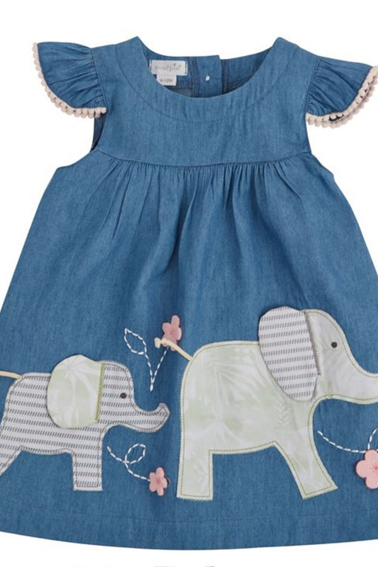 Elephant Chambray Play Dress