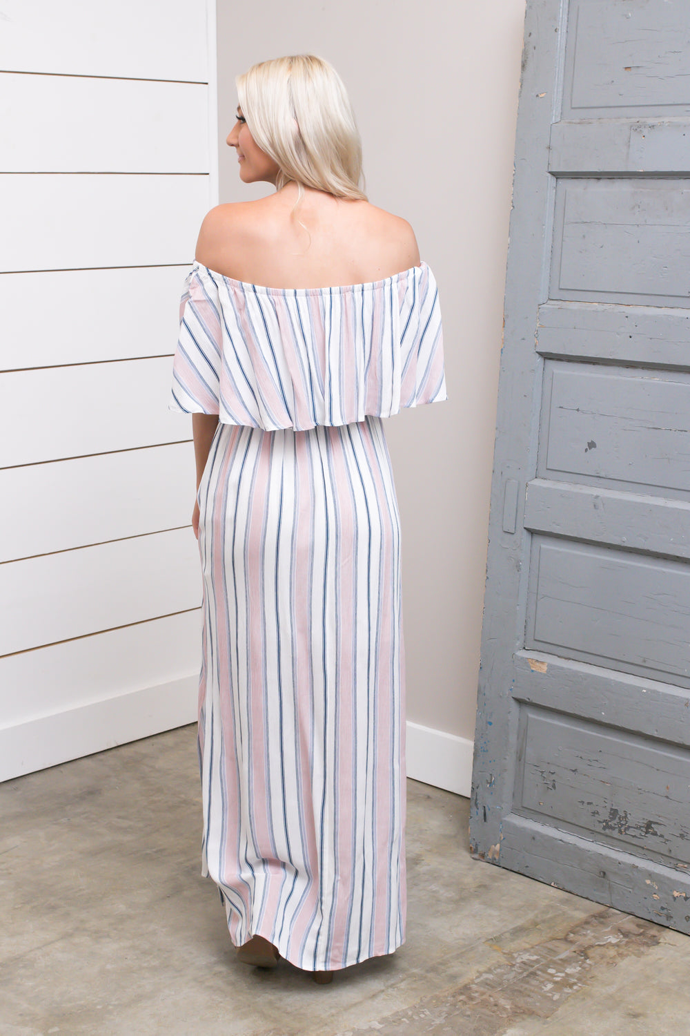 Off White/Peach Maxi Dress