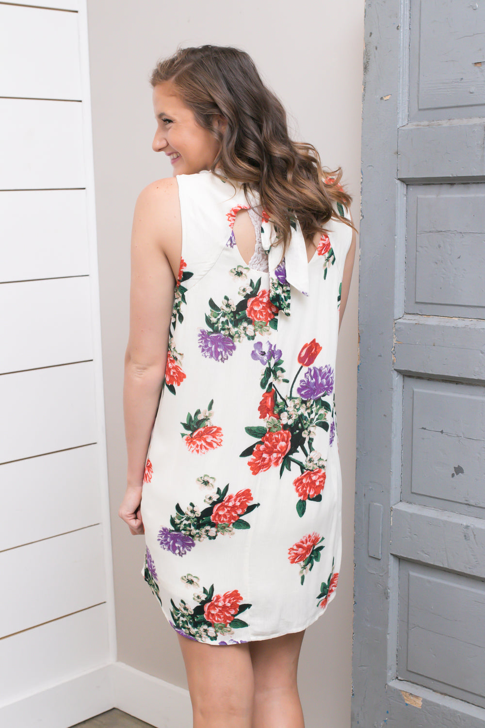 Ivory Sleeveless Floral Dress