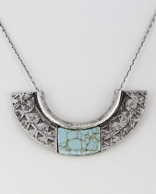 Silver Turquoise Half Moon Necklace