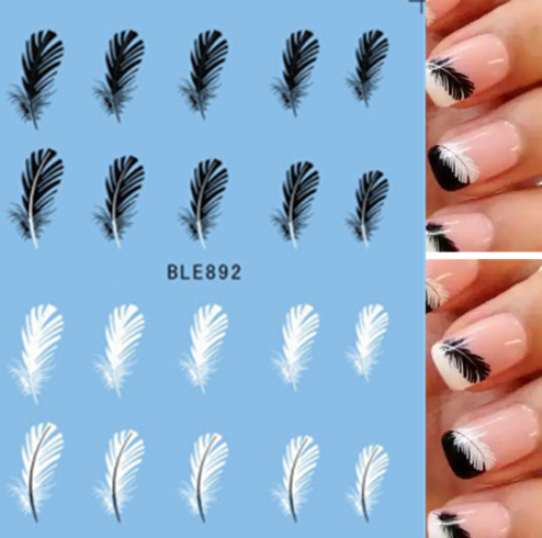Black & White Nail Art Feather Decals Nail Art - 3 Sheets - nailsugar
