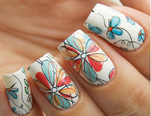 Fun Flower Nail Art Water Transfers Stickers - 2 Sheets - nailsugar