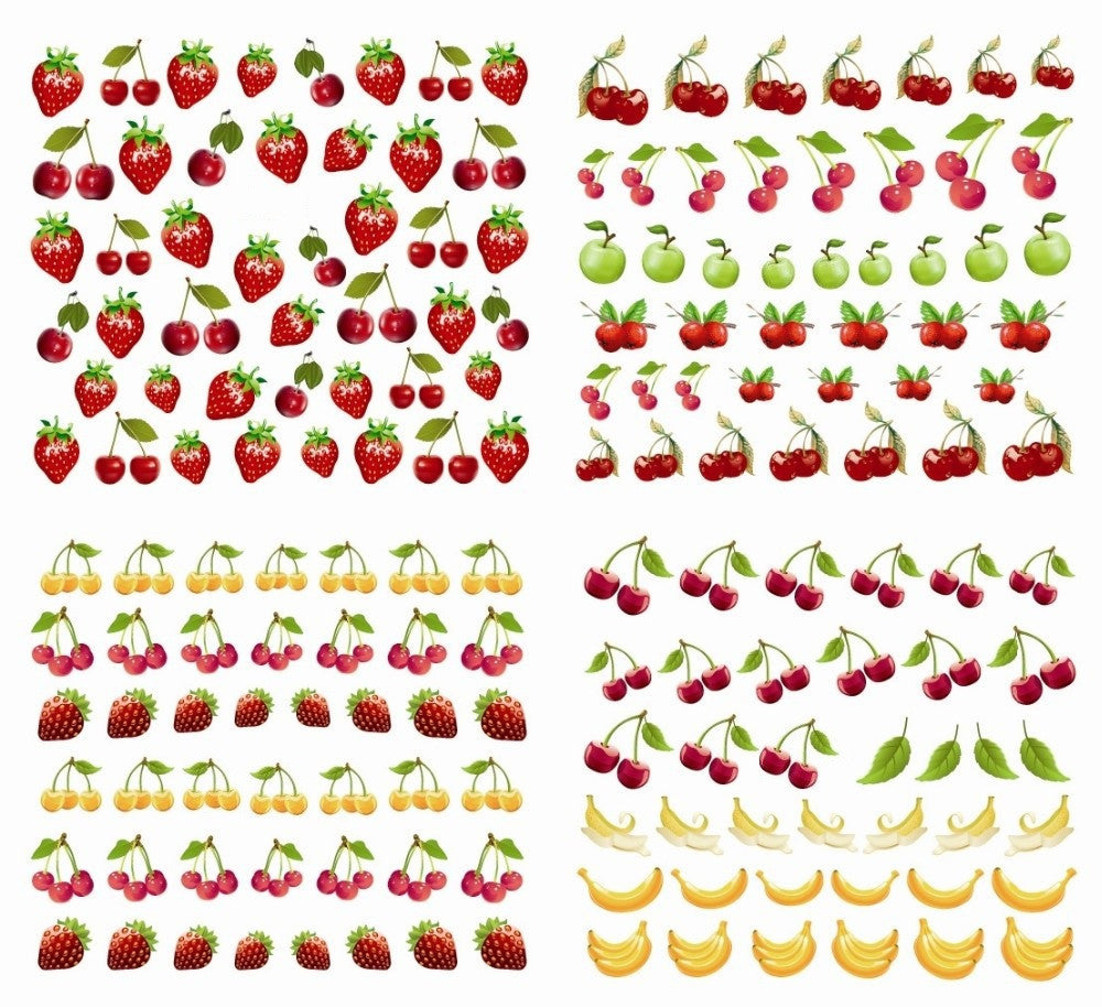 Summer Fun Nail Art Water Transfers Stickers  - Fruit & Beach - 12 Sheets - nailsugar