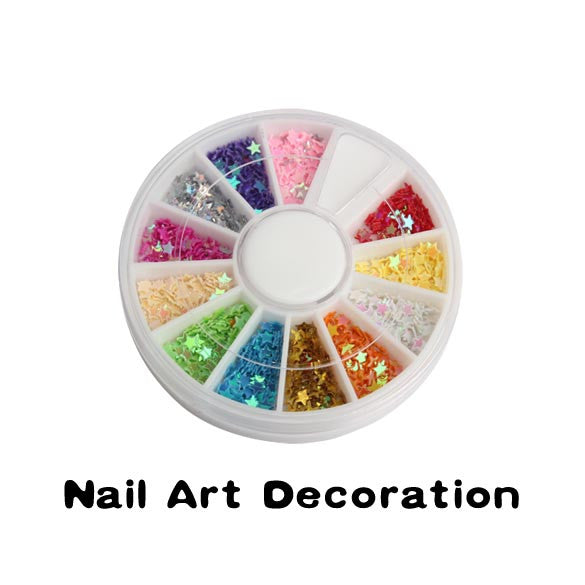 UV Acrylic Tips Star Glitter Decoration - Multicolor Wheel - nailsugar