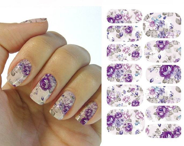 Romantic Purple Flower Nail Art Sticker