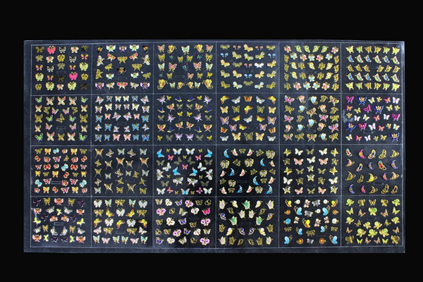 Butterfly Nail Art 3D Decal Stickers - 24 sheets - nailsugar