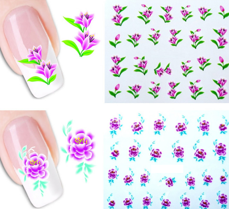Water Transfer Nail Sticker Starter Kit - 50 Sheets + Jar + Tweezers - nailsugar