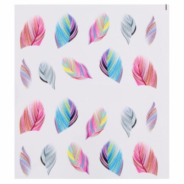 Feather Nail Stickers in Rainbow Colors - 19 sheets - nailsugar
