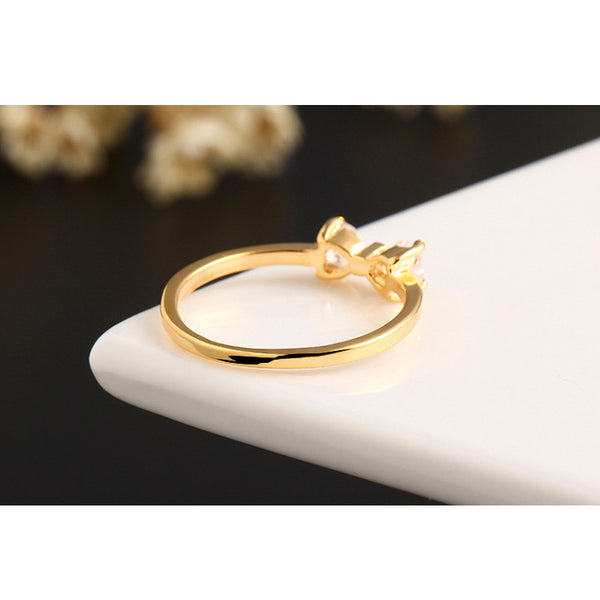 Graceful Gold Plated Bow Ring