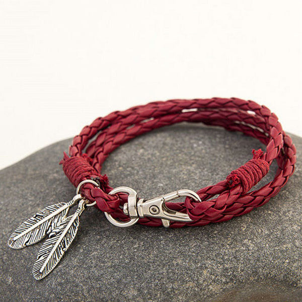 Braided Leather Feather Bracelet