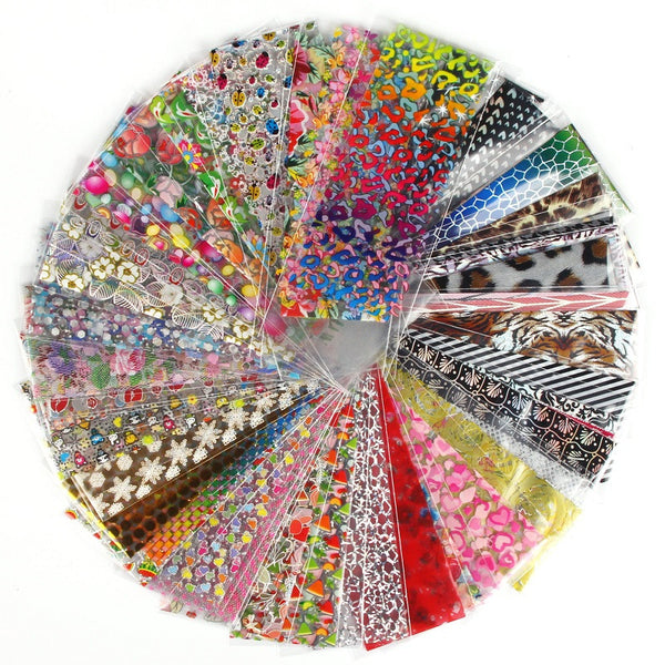 52 Sheets Color Transfer Foil Nail Decal Assorted Designs