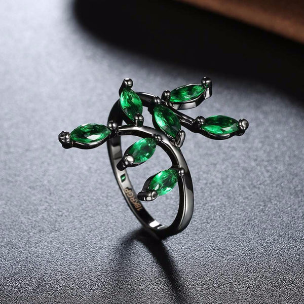Green Stone Leaf Ring