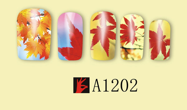 12 Fall Themed Full Nail Decals