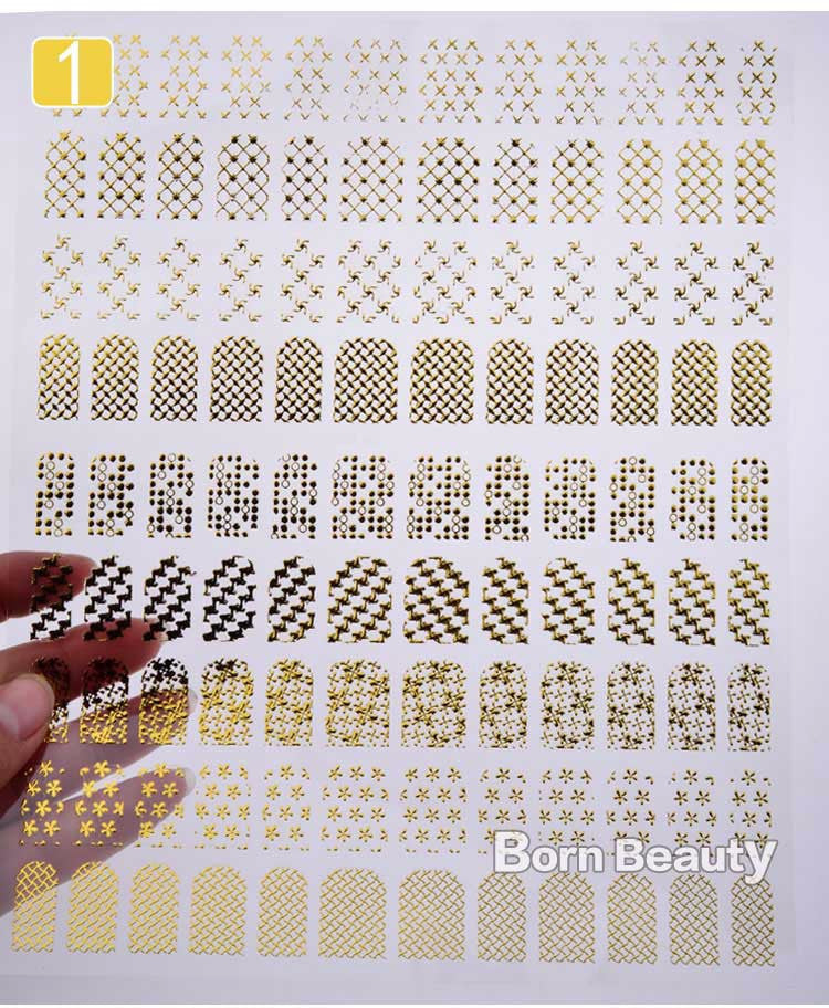 3d Gold Nail Stickers 108pcs/sheet Metallic Nail Art Decoration Tools Flower Designs Fashion Manicure Nail Decals - nailsugar