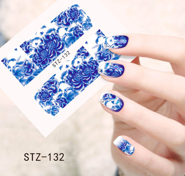 1pcs Hot Blooming Flowers Designs Water Transfer Stickers Nail Decals Watermark Decorations Beauty Full Wraps Foils STZ132 - nailsugar
