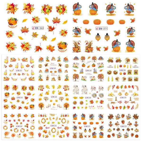 Set of 12 Fall Nail Stickers