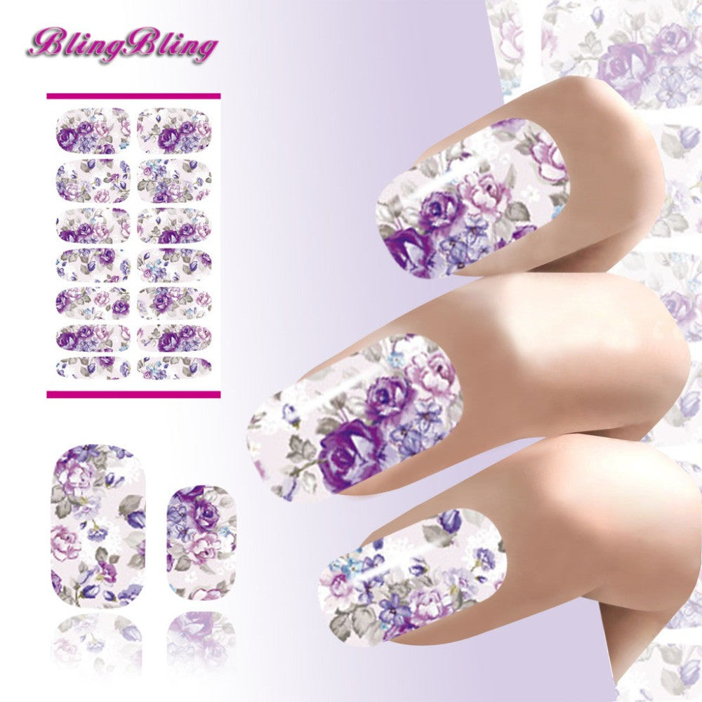 Water Transfer Nails Sticker Romantic Purple Flowers Design Nail Art Sticker Water Decoration - nailsugar