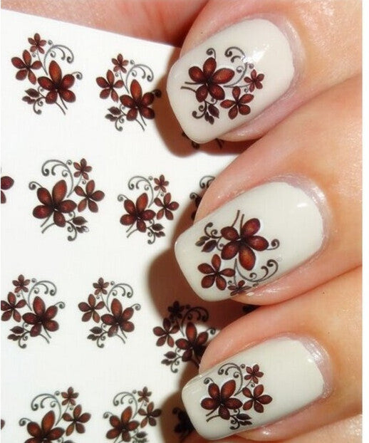 Brown hand drawn flowers nail sticker nail sugar 1 sheet nail sticker flowers designs nail art water transfer stickers watermark decals manicure foils decor prinsesfo Gallery