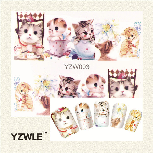 YZWLE 1 Sheet Cute Cat Nail Art Water Decals Transfer Stickers, Manicure Decor Tool Cover Nail Wrap Decal(YZW-003) - nailsugar