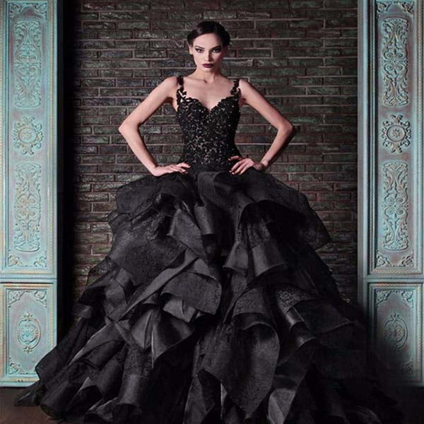 Black Taffeta & Lace Ball Gown Style