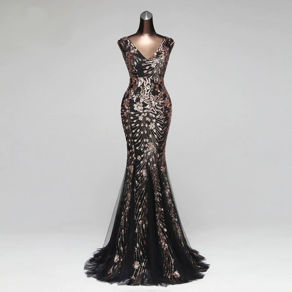 Style #2423 – Black & Rose Gold Sequin Embroidered – TFS Exclusive Luxury Evening Gown Collection