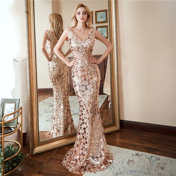Style #2424 – Rose Gold All That Glitters – TFS Exclusive Luxury Evening Gown Collection