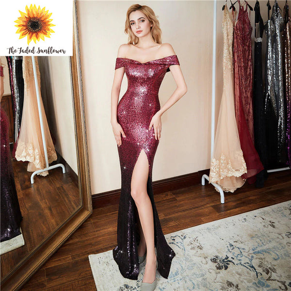 Style #2425 – Burgandy/Black Ombre Sequin Mermaid Style – TFS Exclusive Luxury Evening Gown Collection