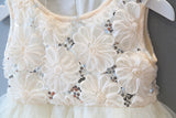 Sculpted Daisy Ivory Flower Girl Dress