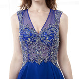 Style 4303 - Royal Blue Crystal Embellished A-Line Evening/Prom Dress - Avail up to Size 26W