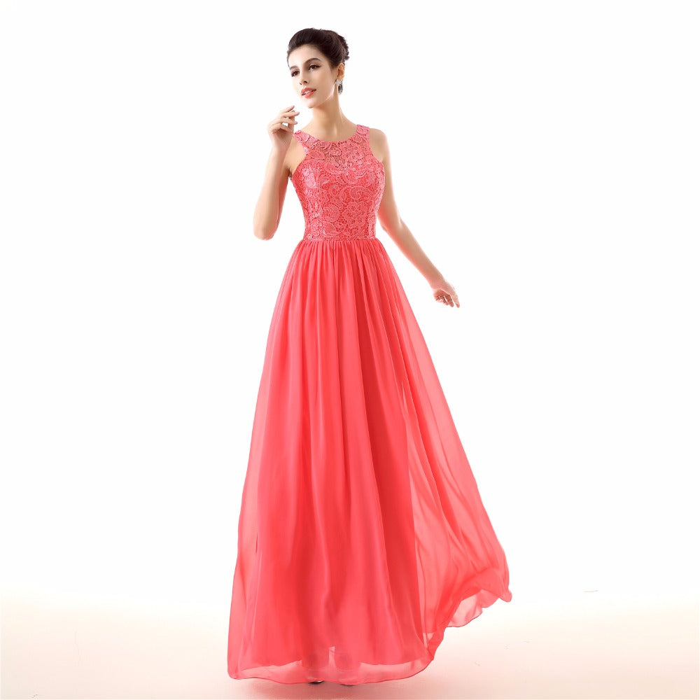 Style 4307 - Coral Lace & Chiffon Evening/Prom Dress - Avail up to Size 26W