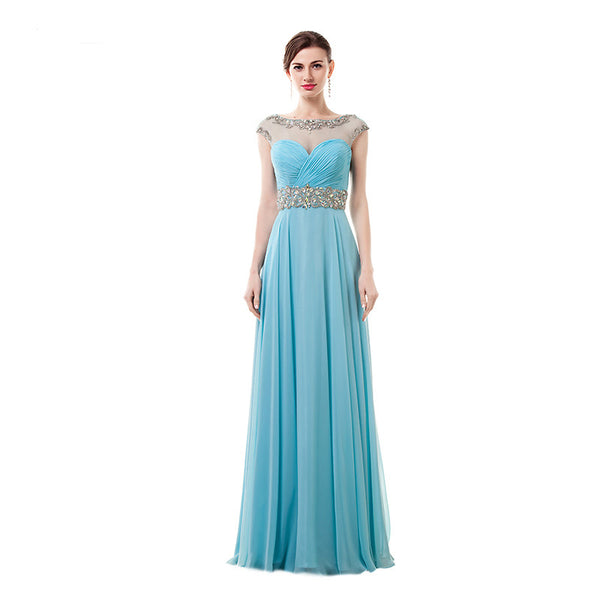 Style 4309 - Crystal Belt Chiffon  Evening/Prom Dress - Avail up to Size 26W