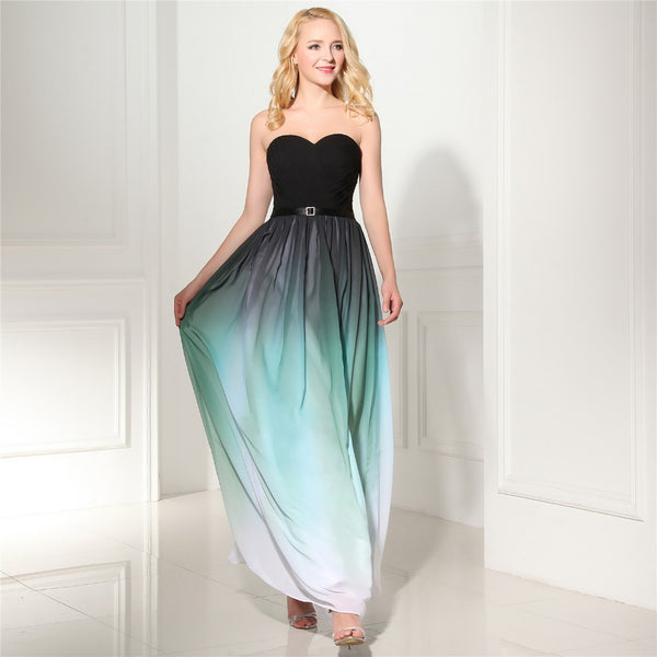 Style 4311 - Black & Teal Chiffon Ombre Evening/Prom Dress - Avail up to Size 26W