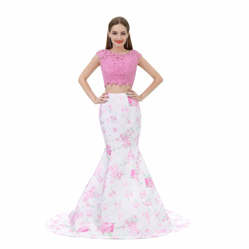 Style 4321 - BEST SELLER! -2-Piece Cherry Blossom Mermaid Style Prom Dress - Avail up to Size 26W