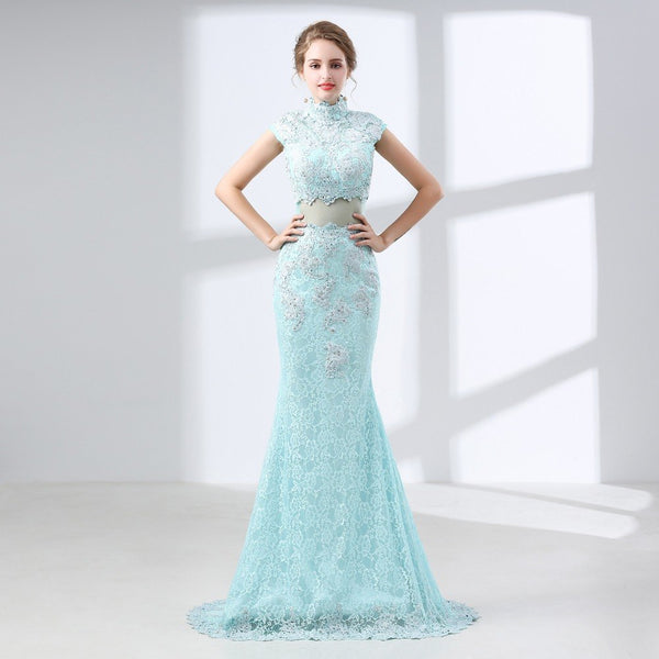 Style 4324 - Illusion 2-Piece Lace mermaid Style Prom/Evening Gown  - Avail up to Size 26W