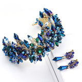 Hand Crafted Stunning Blue Crystal Bridal Tiara with Matching Earrings