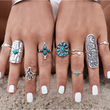 9 Piece Boho Antique Silver Turquoise Ring Set